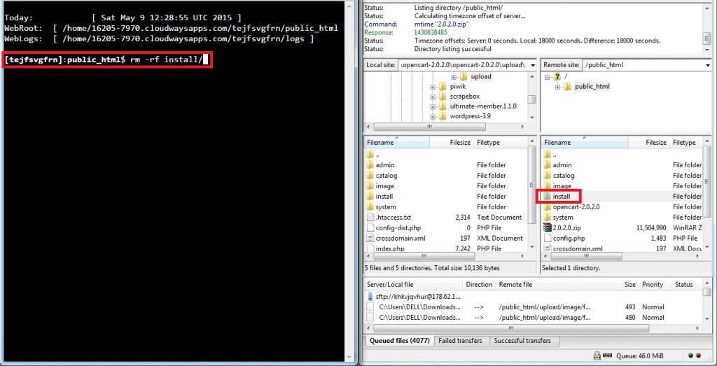 remove install folder