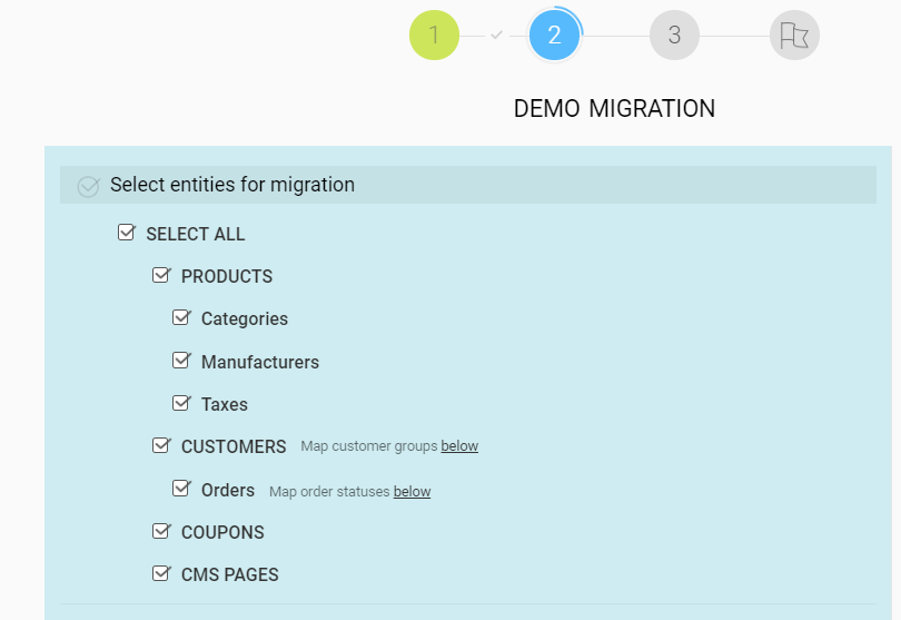 select entities migration