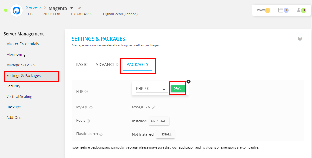 Cloudways Setting and Packages