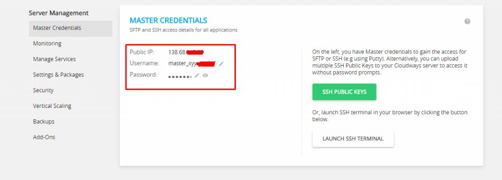 SFTP access details Cloudways