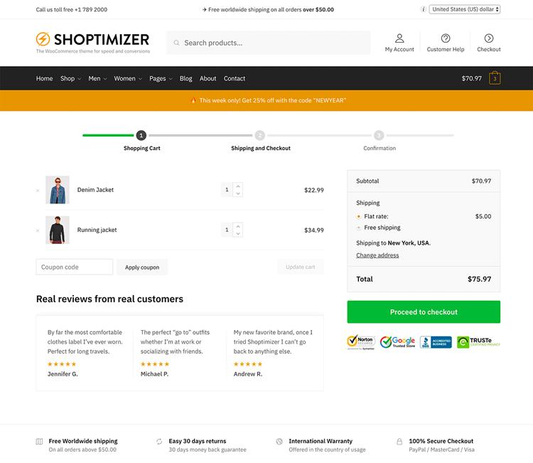 shoptimizer cart page