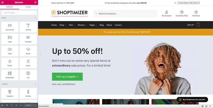 shoptimizer elementor page builder