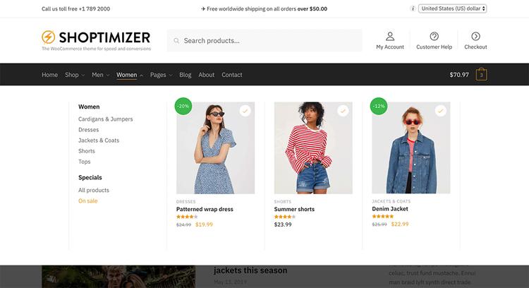 shoptimizer mega menu
