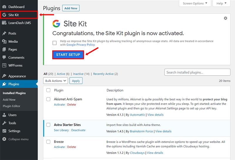 start setup of google site kit