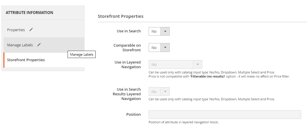storefront properties attributes magento 2