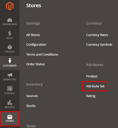 stores-attribute set attribute magento 2