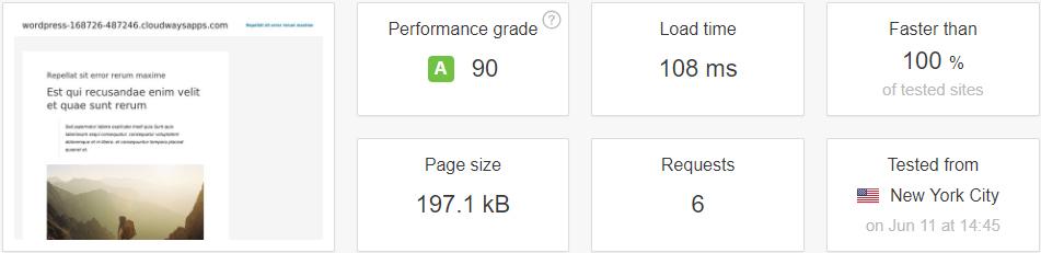 test result with bree free wordpress cache plugin