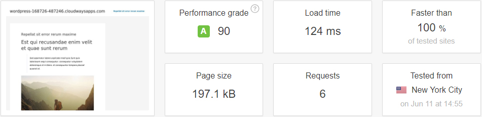 test result with wp fastest cache plugin