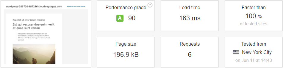 test result without cache plugin