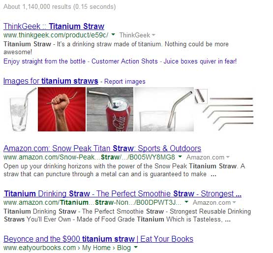 Titanium Straw Search Examples