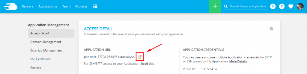 cloudways application details