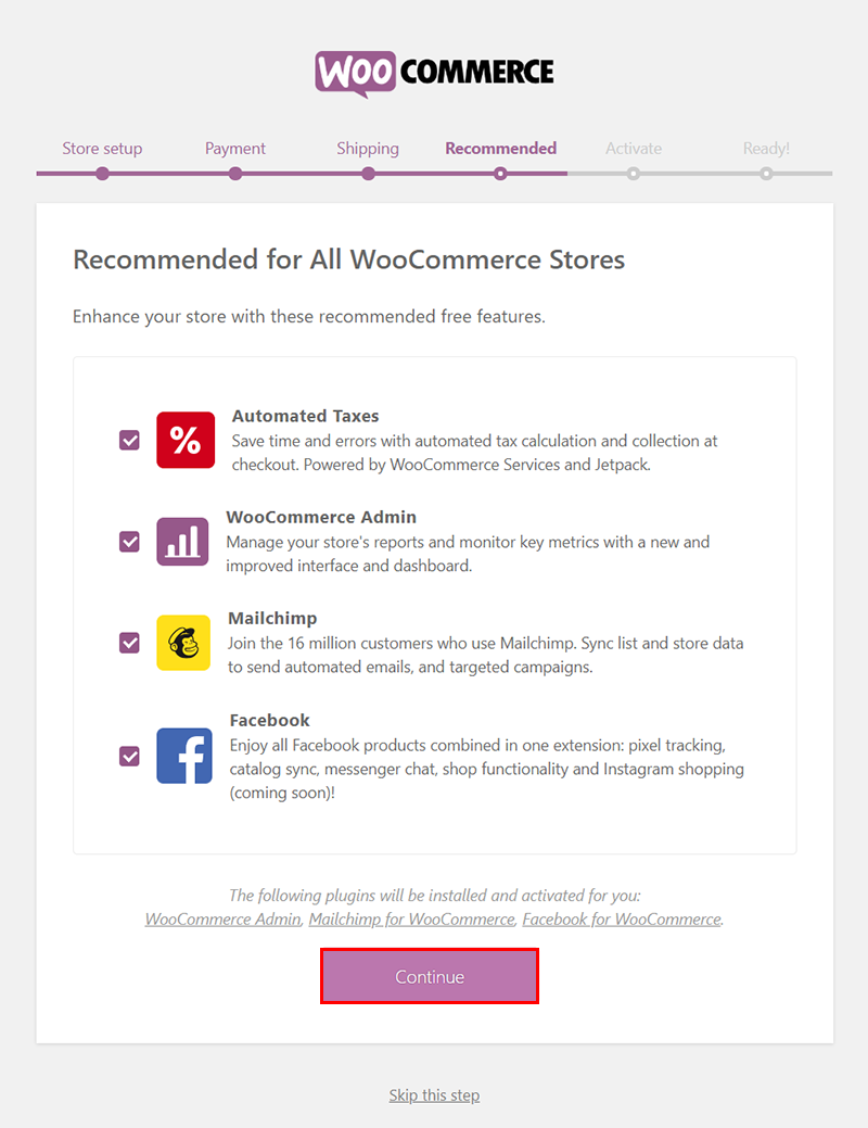 woocommerce recommended