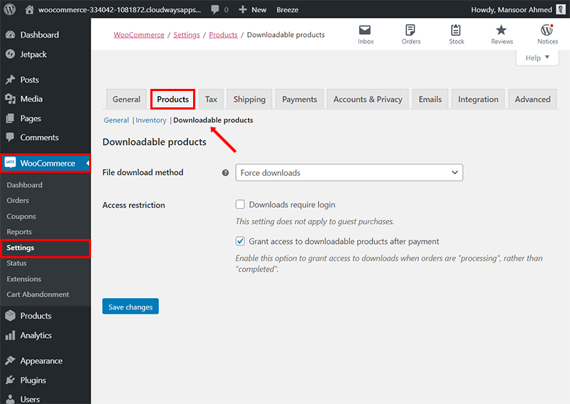 woocommerce settings downloadable products