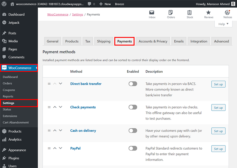 woocommerce settings payment methods