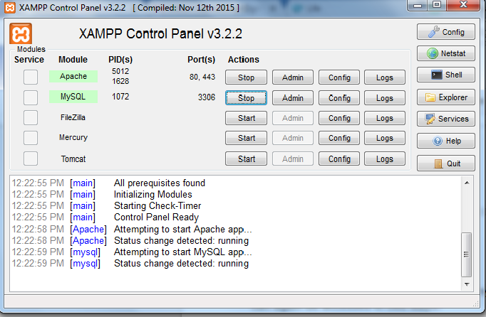 xampp control panel activated